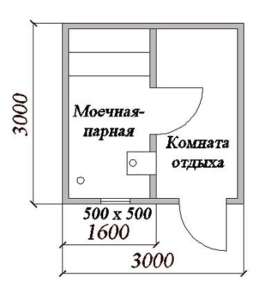 проект бани 3 на 3 метра