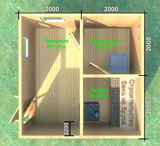 проект бани 4 на 4 метра